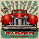 Vintage garage retro poster. The vintage garage retro poster Royalty Free Stock Image