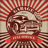 Vintage garage retro poster. The vintage garage retro poster Royalty Free Stock Photography