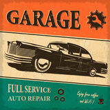 Vintage garage retro poster. The vintage garage retro poster Stock Photos