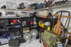Vintage Garage Sale Corner. Vintage items in a residential garage sale setting Stock Photography