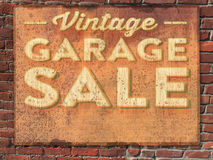 Garage Sale Sign. Vintage Garage Sale Tin Sign on Brick Wall Royalty Free Stock Photos