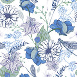 Vintage garden flowers vector seamless pattern Stock Images