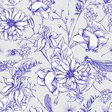 Vintage garden flowers vector seamless pattern. Vintage monochrome garden flowers vector seamless pattern, Botanical shabby chic illustration wild flowers Stock Photography