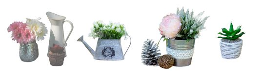 Vintage garden pot decoration isolated stock images