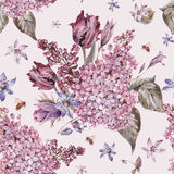 Vintage garden watercolor purple floral spring seamless backgrou Royalty Free Stock Images