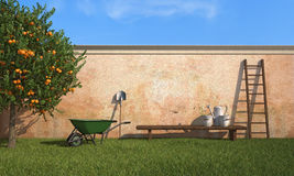 Working in the garden. Vintage  garden with working tools in a sunny day - rendering Royalty Free Stock Images