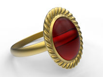 Vintage garnet ring. 3D render illustration of a vintage garnet ring. The object is  on a white background with shadows Stock Image