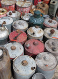 Vintage Gas Cans. A collection of old vintage gas cans Stock Images