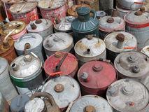 Vintage Gas Cans. A collection of old vintage gas cans Stock Photo