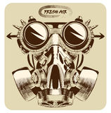 Vintage gas mask vector drawing nice art Royalty Free Stock Photo