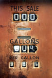 Vintage Gas Pump. Very old gas pump showing the price of 38 cents per gallon Stock Images