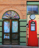 Vintage Gas Pump and Aged Glass Stock Photos