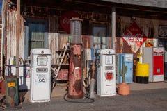 Vintage gas pumps and vending machines stock photos