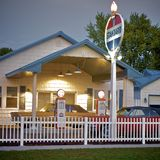 Vintage Gas Station Stock Photo