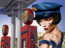 Vintage Gas Station. With a female gas pump attendant Royalty Free Stock Image