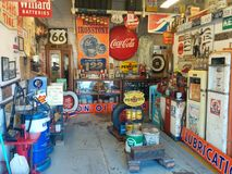 Vintage gas station memorabilia on Route 66 stock image