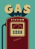 Vintage Gas Station poster design. Retro vector illustration. Royalty Free Stock Images