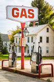 Vintage Gas Station. In Rural America on a Sunny Autumn Morning stock photo