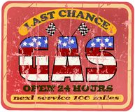 Vintage gas station sign royalty free illustration