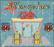 Vintage gas station sign, grungy and retro style vector. Vintage gas station sign route 66 grungy retro style vector illustration. No commercial reference vector illustration