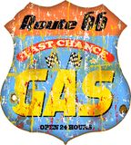 Vintage gas station sign. On the route 66, supergrungy Stock Images