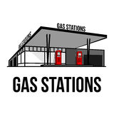 Vintage gas stations Stock Image