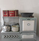 Vintage gas stove and oven. stock image