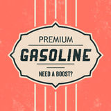 Vintage Gasoline Sign - Retro Template. With Grunge Texture Royalty Free Stock Photo