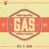 Vintage Gasoline Sign - Retro Template. With Grunge Texture Royalty Free Stock Images