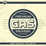Vintage Gasoline Sign - Retro Template. With Grunge Texture Royalty Free Stock Photography