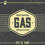 Vintage Gasoline Sign - Retro Template. With Grunge Texture Stock Photo