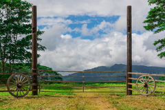 Vintage gate to field with mountains in distance Stock Images