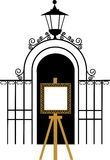 Vintage gate to the park with drawing easel Royalty Free Stock Photo