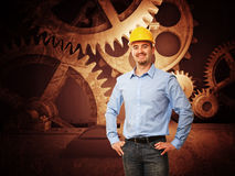 Vintage gear and man Royalty Free Stock Images