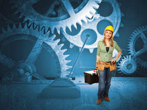 Vintage gear and worker Stock Photos