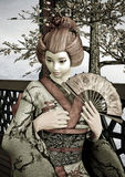 Vintage Geisha. 3D digital render of a beautiful vintage geisha wearing traditional clothes sitting in a pavilion, blue sky and cherry blossom background Royalty Free Stock Image