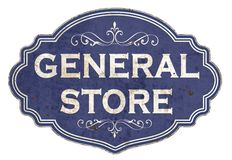 Vintage General Store Enamel Tin Sign Retro Old West. Blue rustic embossed isolated shop grunge royalty free illustration