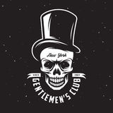 Vintage gentleman club emblem with skull in tall hat. Vector illustration. Vintage gentleman club emblem with skull in tall hat. Monochrome style. Vector Royalty Free Stock Images