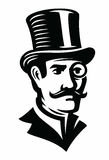 Vintage gentleman emblem. Vintage gentleman black emblem on white background Royalty Free Stock Photos