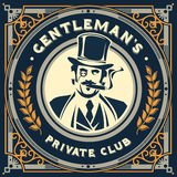 Vintage gentleman emblem, signage. Vector vintage gentleman emblem, label, signage and sticker Stock Images