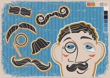Vintage gentleman face and mustaches on old paper  Stock Photography