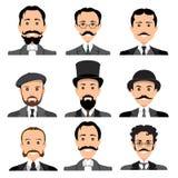 Vintage gentleman portrait set. Royalty Free Stock Photo