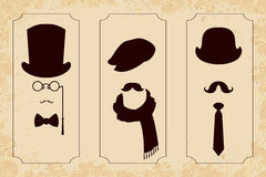 Vintage gentleman set. Silhouettes in frames Stock Image