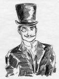 Vintage gentleman sketch Stock Images