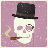 Vintage gentleman skull,  Royalty Free Stock Photos