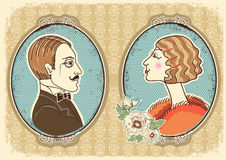 Vintage gentleman and woman face portraits. Royalty Free Stock Image