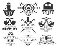 Vintage Gentlemen Club Logos Collection. Vintage Gentlemen Club Emblems, Icons and Badges. Vector Illustration Set Royalty Free Stock Photography