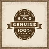Vintage Genuine 100% Quality Label. In woodcut style. Editable EPS10 vector illustration with transparency Stock Image