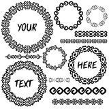 Vintage geometic elements round frames and borders in mega set Stock Photography