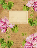 Vintage Geranium floral notebook cover Stock Photos